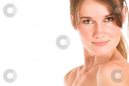 Business Woman #436 stock photo, Nude girl with brown hair.  Copy space. by Sean Nel