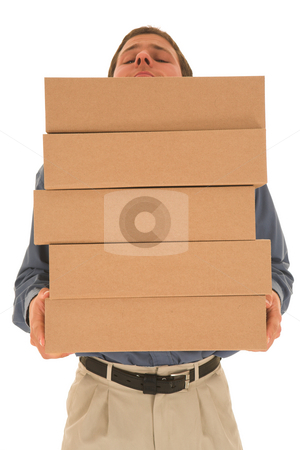 Businesman #87  stock photo, Man carrying boxes. by Sean Nel