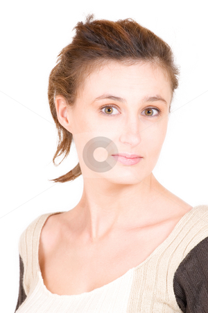 Business Lady #116 stock photo, Business woman with beige and brown knitted top by Sean Nel