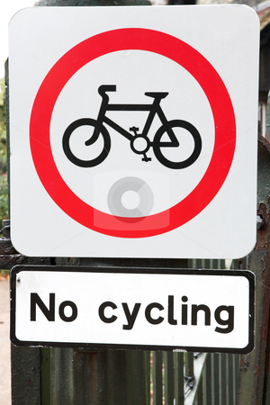 London #39 stock photo, Sign  with a bicycle in a park. by Sean Nel
