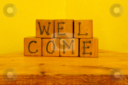 Cape Signs #1 stock photo, Welcome sign in play blocks by Sean Nel