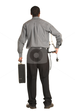 Businessman #163 stock photo, Businessman grey shirt, carrying a leather suitcase and a food blender. by Sean Nel