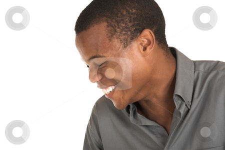 Businessman #154 stock photo, Businessman in grey shirt, laughing.  Copy space. by Sean Nel