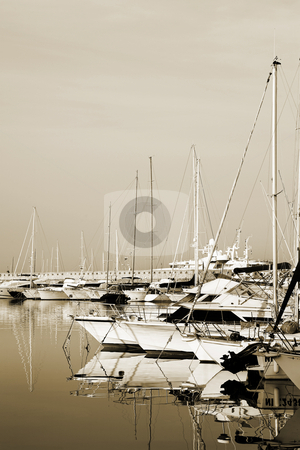 Antibes #279 stock photo, A harbor  in Antibes, France.  Sepia tone.  Copy space. by Sean Nel