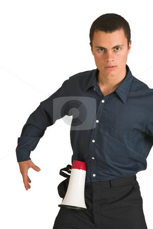Businessman #225 stock photo, Businessman in a blue shirt,playing with a megaphone as if it is a gun. by Sean Nel