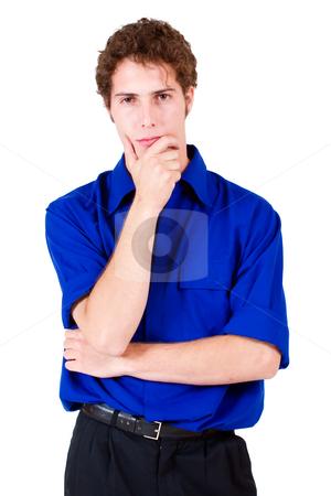 Businessman #68 stock photo, Businessman in blue shirt, thinking by Sean Nel