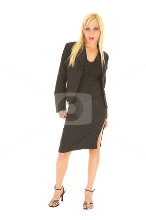 Sexy blonde businesswoman stock photo, Sexy young adult Caucasian businesswoman in black pinstripe pencil skirt and suit jacket on a white background. Not Isolated by Sean Nel