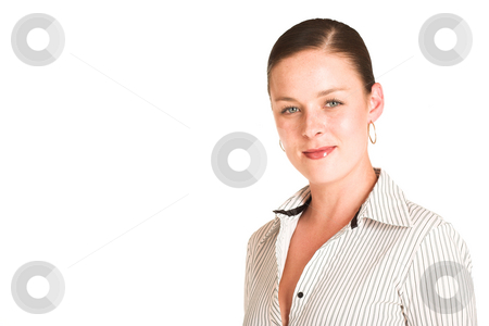 Charmaine Shoultz #24 stock photo, Business woman dressed in a white pinstripe shirt.  Copy space by Sean Nel
