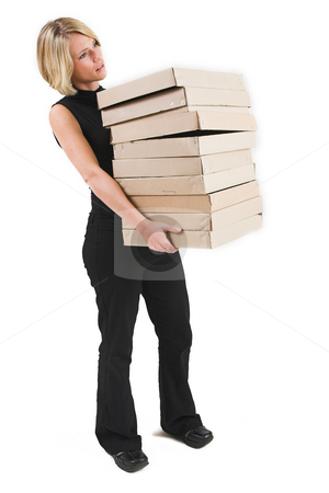 Business Lady #32 stock photo, Blond Business woman carrying boxes by Sean Nel
