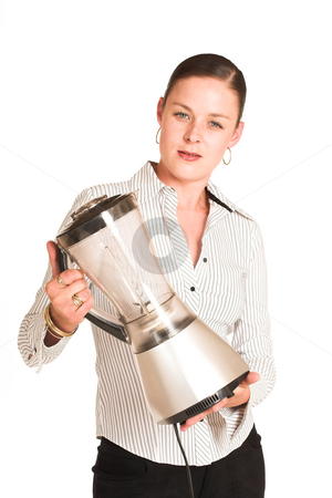 Business Woman#29 stock photo, Business woman dressed in a white pinstripe shirt. Holding a blender by Sean Nel