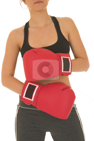 Boxer #11 stock photo, Brunette with red boxing gloves by Sean Nel