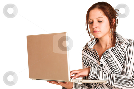 Business Woman #356 stock photo, Business woman with brown hair, dressed in a white shirt with black stripes. Holding a laptop.  Looking down. by Sean Nel