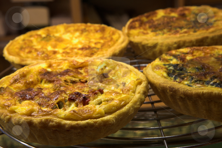 Pastry #14 stock photo, Glazed French Quiche Lorraine in a patisserie by Sean Nel