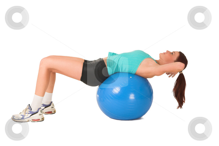 Gym #180 stock photo, Woman doing sit-ups on ball. by Sean Nel