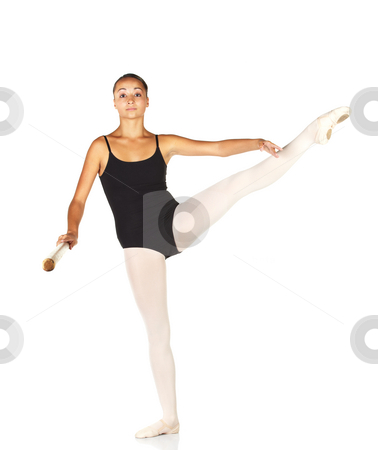 Ballet Steps stock photo, Young caucasian ballerina girl on white background and reflective white floor showing various ballet steps and positions. Grand Battement a la Seconde. Not Isolated. by Sean Nel