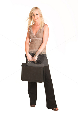 Business Woman #306 stock photo, Blond business woman dressed in black trousers and a black shirt.  Holding a blank leather suitcase by Sean Nel