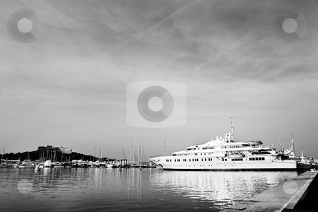 Antibes #285 stock photo, A harbor  in Antibes, France.  Black and white.  Copy space. by Sean Nel