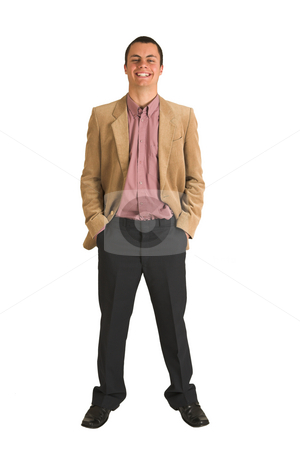 Businessman #214 stock photo, Businessman in a pink shirt and camel coloured jacket, smiling.  Standing with both hands in his pockets by Sean Nel