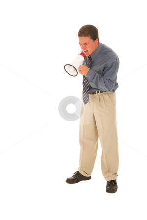 Businessman #117 stock photo, Man yelling over a microphone. by Sean Nel