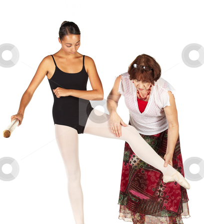 Ballet Steps stock photo, Young caucasian ballerina girl on white background and reflective white floor showing various ballet steps and positions, being corrected by teacher. Not Isolated. by Sean Nel