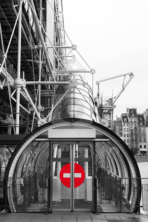 Paris #73 stock photo, The Centre Pompidou Industrial structure (museum) in Paris, France. Black and white.  Only the sign is in colour.  Copy space. by Sean Nel