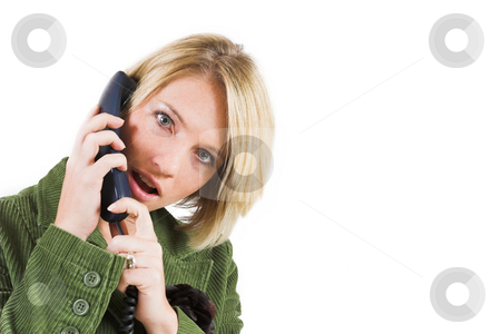 Heidi Booysen #15 stock photo, Business woman green jacket, talking on the phone by Sean Nel