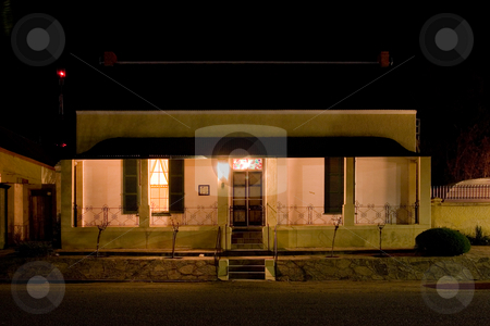 Cape - Farm House #1 stock photo, Old farm house converted into a small hotel, Night Scene - Colesberg, South Africa by Sean Nel