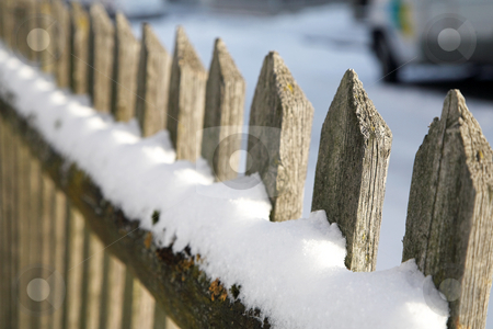Munich #08 stock photo, Wooden fence in Munich, covered in snow.  Shallow DOF. by Sean Nel