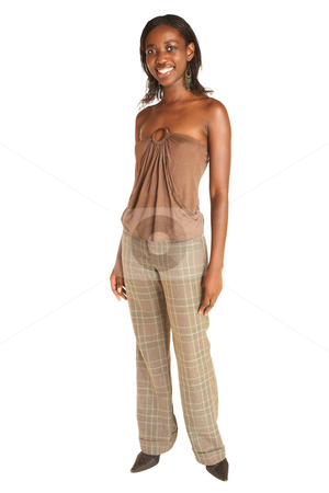 Cynthia Akva #1 stock photo, African business woman dressed in neutral coloured clothes.  Full length by Sean Nel
