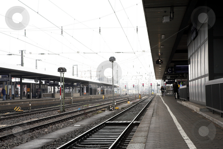 Neurenburg #68 stock photo, Trainstation in Neurenburg, Germany.  Movement on person walking by Sean Nel