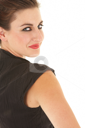 Young adult businesswoman stock photo, Young beautiful adult Caucasian businesswoman with clipboard against a white background by Sean Nel