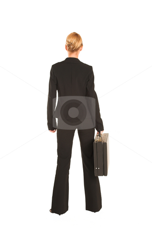 Businesswoman #231 stock photo, Blonde business lady in formal black suit.  Holding a black leather suitcase. by Sean Nel