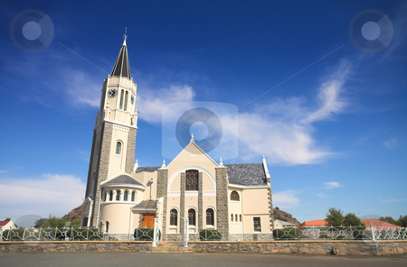 Dutch reformed church stock photo, Blue sky with dramatic clouds over a desert town Dutch Reformed Church, Hanover, South Africa by Sean Nel