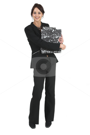Business Lady #85 stock photo, Business woman with black file by Sean Nel