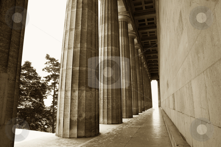 Regensburg07 stock photo, Pillars in Regensburg, Sepia by Sean Nel