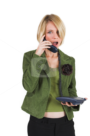 Heidi Booysen #18 stock photo, Business woman green jacket, talking on the phone by Sean Nel