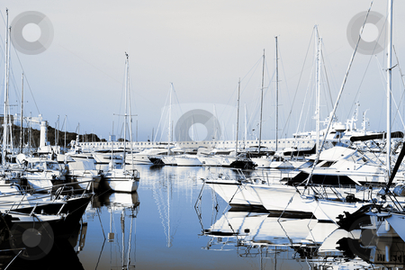 Antibes #282 stock photo, A harbor  in Antibes, France.  Duo tone. Copy space. by Sean Nel