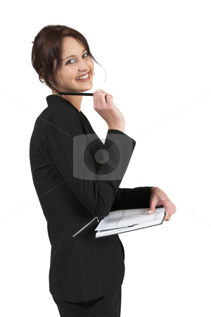 Luzaan Roodt #27 stock photo, Business woman in formal black suit holding pen and diary by Sean Nel