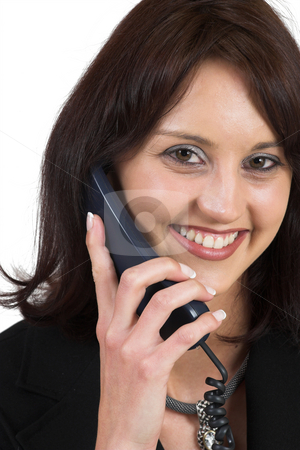 Business Lady #65 stock photo, Business woman with blue telephone by Sean Nel