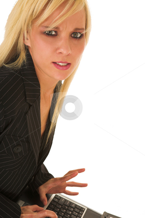Sexy young businesswoman stock photo, Blonde young adult businesswoman wearing office wear on a white background by Sean Nel