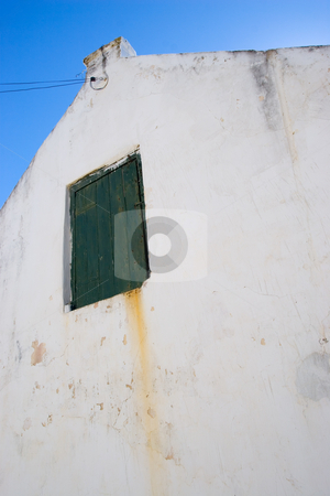 Barn 01 stock photo, Old style white barn with green door by Sean Nel