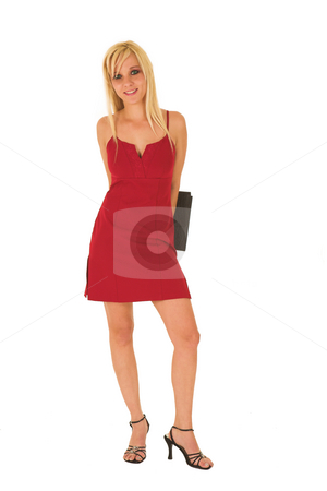 Business Woman in red #124 stock photo, Blond business woman with black leather file in red dress by Sean Nel