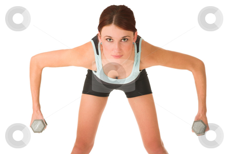 Gym #100 stock photo, Woman doing weight lifting. by Sean Nel