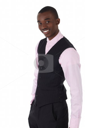 Black African businessman stock photo, Young Adult black african businessman wearing a dark smart-casual outfit without a Jacket, but with a pink shirt and a dark waistcoat on a white background in various poses with various facial expressions. Part of a series, Not Isolated. by Sean Nel
