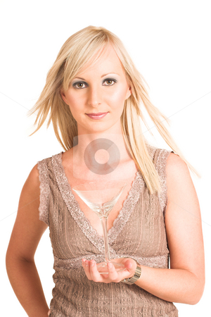 Business Woman #309 stock photo, Blond business woman dressed in a beige top.  Holding a martini glass. by Sean Nel