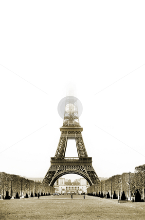 Paris #26 stock photo, The Eiffel Tower in Paris, France. Sepia tone, Copy space. by Sean Nel