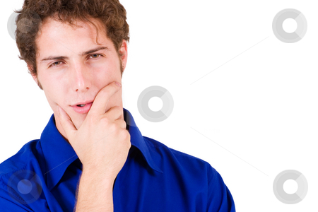 Businessman #67 stock photo, Businessman in blue shirt, thinking by Sean Nel