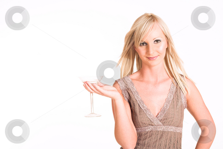 Business Woman #310 stock photo, Blond business woman dressed in a beige top, holding a martini glass - copy space by Sean Nel