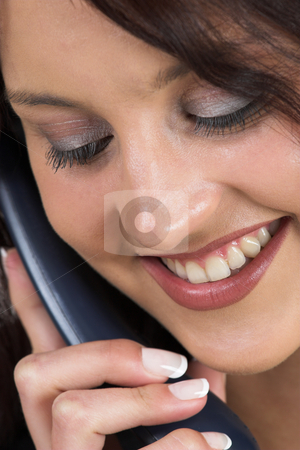 Business Lady #72 stock photo, Business woman with blue telephone by Sean Nel