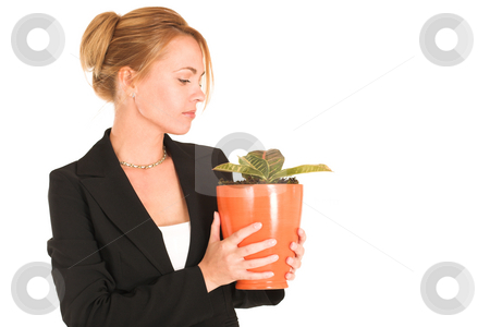 Businesswoman #237 stock photo, Blonde business lady in formal black suit.  Holding a potplant.  copy space by Sean Nel